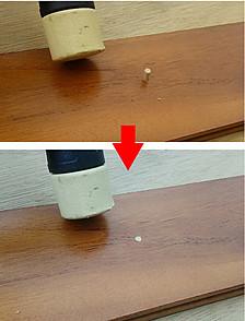 穿孔した穴補修作業